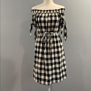 LOFT - NWOT - Gingham Off The Shoulder Dress